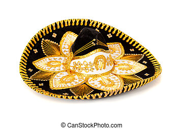 Black Decorated mariachi sombrero on white