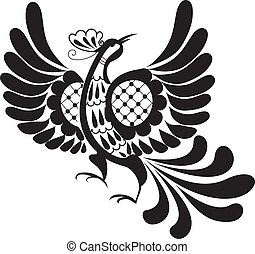 silhouette of bird - Black decorative silhouette of bird of...