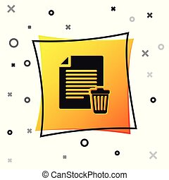 Black Delete file document icon isolated on white background. Paper sheet with recycle bin sign. Rejected document icon. Cross on paper. Yellow square button. Vector Illustration
