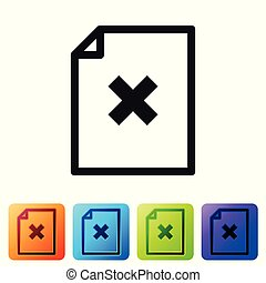 Black Delete file document icon isolated on white background. Rejected document icon. Cross on paper. Set icon in color square buttons. Vector Illustration