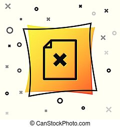 Black Delete file document icon isolated on white background. Rejected document icon. Cross on paper. Yellow square button. Vector Illustration