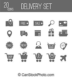 black delivery set icons