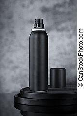 Black Deodorant Hair Spray Aluminium Can for Mockup