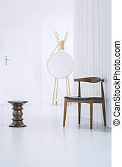 Black designer table in corridor