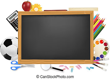 Black desk with school supplies. Vector.