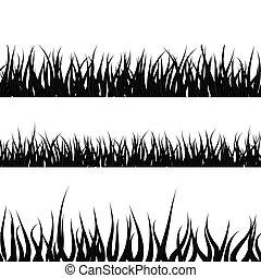 Black detailed grass silhouette, seamless borders on white