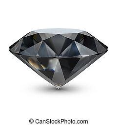 Black diamond. 3d image. Isolated white background.