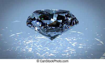 Black diamond dispersion footage. Carbonado crystal gem polycrystalline of diamond, graphite, and amorphous carbon. Round diamond cut animation with light dispersions on surface. 3D animation