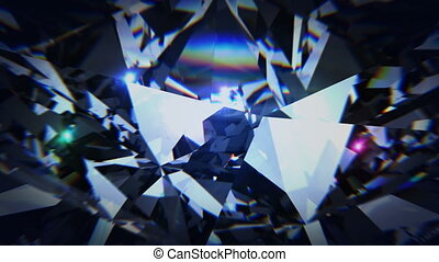 Black diamond dispersion footage. Carbonado polycrystalline...