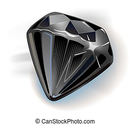Black diamond front view, vector illustration isolated on...