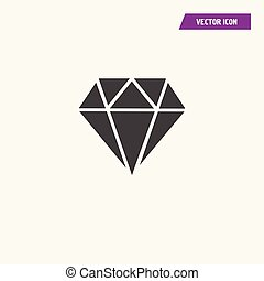 Black Diamond icon vector, Brilliant sign.