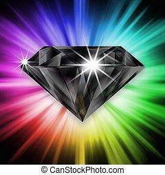 Black diamond over rainbow background