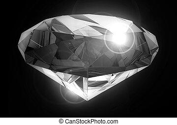 Black Diamond 3D Illustration. Crystal Clear Beautiful...