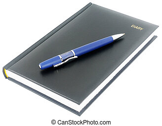 Black paper personal organizer and blur pen isolated on white