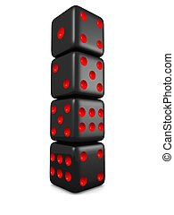 Black dice in a row isolated