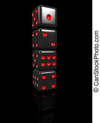 Black dice in a row with reflection black background