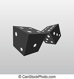 Black dice isolated on white background. vector