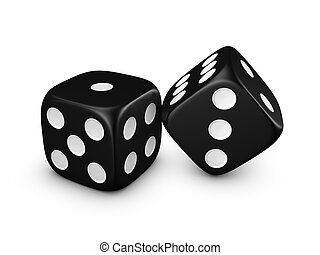 black dice on white background