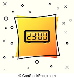 Black Digital alarm clock icon isolated on white background. Electronic watch alarm clock. Time icon. Yellow square button. Vector Illustration