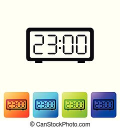 Black Digital alarm clock icon isolated on white background. Electronic watch alarm clock. Time icon. Set icon in color square buttons. Vector Illustration