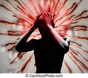 Black digital body with headache against a digital...