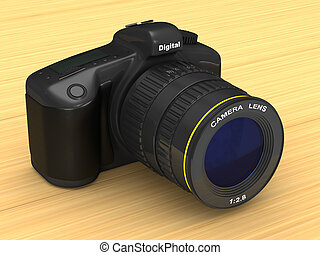 black digital camera. 3D illustration