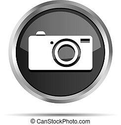 black digital camera icon button