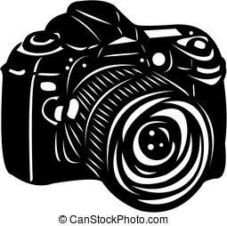 Black digital camera - Black digital SLR camera isolated on...