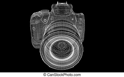 Black digital camera 3D model body structure, wire model