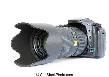 Black digital camera isolated on white background