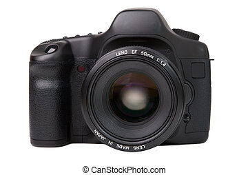 camera - Black digital camera isolated on white