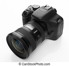 Black digital camera on white background