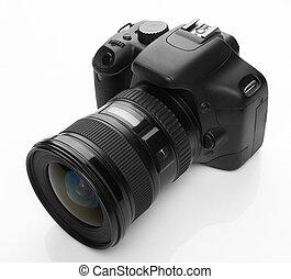 Black digital camera on white background