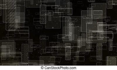 Black Digital Technology Squares Background. - Digital...