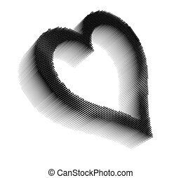 Black dimensional pixel image of heart
