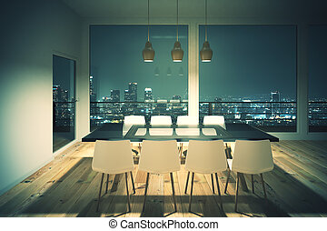 Black dining table in the evening