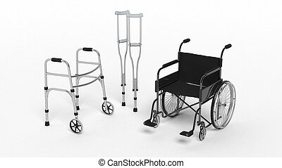 Black disability wheelchair, crutch and metallic walker ...