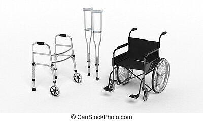 Black disability wheelchair, crutch and metallic walker...