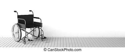 Black disability wheelchair near clean white wall