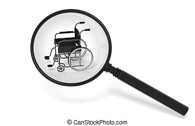 Black disability wheelchair under magnifier isolated on...