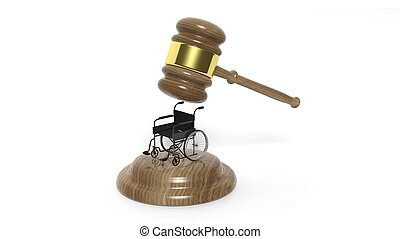 Black disability wheelchair with gavel isolated on white