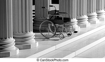 Black disability wheelchair, with ancient pillars as...