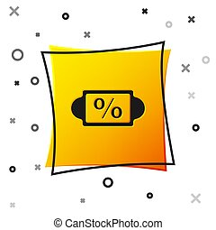 Black Discount percent tag icon isolated on white background. Shopping tag sign. Special offer sign. Discount coupons symbol. Yellow square button. Vector Illustration