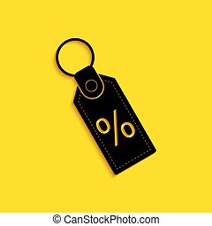 Black Discount percent tag icon isolated on yellow background. Shopping tag sign. Special offer sign. Discount coupons symbol. Long shadow style. Vector