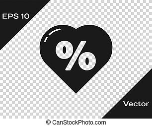 Black Discount percent tag in heart icon isolated on transparent background. Shopping tag sign. Special offer sign. Discount coupons symbol. Vector Illustration