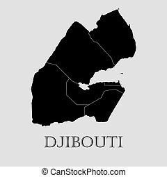 Black Djibouti map - vector illustration