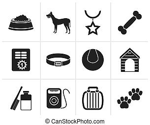 Black dog accessory icons