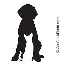 Black dog and white cat - Black silhouette of dog and white...