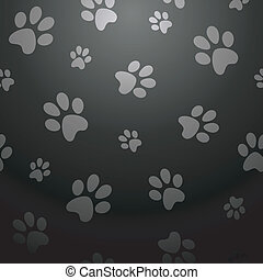 Black dog footprints pattern - Stylish paw pet abstract...