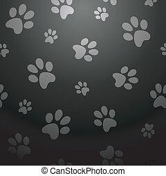 Black dog footprints pattern - Stylish paw pet abstract...